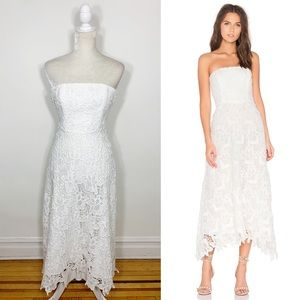 BB DAKOTA lace strapless asymmetrical midi dress